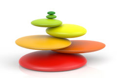 Impossible Balancing Colored Zen Stones. On white background. 3D Rendering Stock Photos