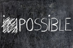 Impossible Becomes Possible on Chalkboard. Impossible becomes possible handwritten with white chalk on dirty blackboard. Please visit my personal blackboard Stock Photos