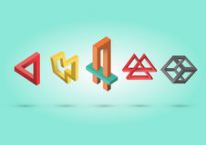 Impossible colorful shapes. With gradient shadows vector illustration