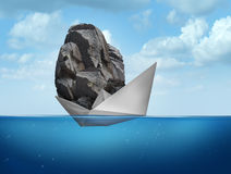 Impossible Concept. As a paper boat transporting a heavy rock boulder as a business symbol for overachieving and the power of determined potential to do things stock illustration
