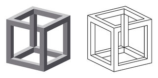 Impossible cube optical illusion Stock Photos
