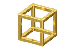 Impossible cube optical illusion, 3D rendering Stock Images