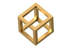 Impossible cube optical illusion stock illustration