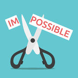 Impossible cut in two. Word impossible on paper cut in two with scissors. Opportunity, courage, will power, desire, motivation and perseverance concept. EPS 8 Stock Photos