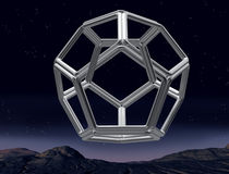 Impossible dodecahedron. Original illustration of an impossible dodecahedron in the night sky vector illustration