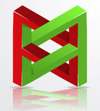 Impossible Figure Icon Sign, Abstract Vector Illustration. Royalty Free Stock Image