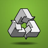 Impossible figure recycle icon on green background. It's recycle icon on green background. It's created with an impossible figure Stock Photos