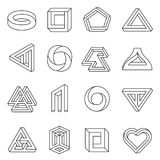 Impossible figures line art collection. Type of optical illusion, reality trick, fascinating objects of geometry. Vector flat style illustration isolated on vector illustration