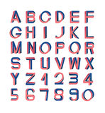 Impossible font set. Including numerals. Red and blue gradients, white striped edges vector illustration