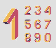 Impossible Geometry numbers. First. Impossible shape numbers. Memphis style . Colored numbers in the style of the 80s. Set of vector numbers constructed on the Vector Illustration