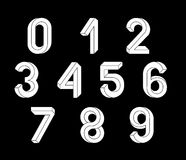 Impossible Geometry numbers. Impossible shape font. Low poly 3d characters. Geometric font. Isometric graphics 3d numbers. White symbols on a black background Stock Illustration
