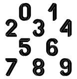 Impossible Geometry numbers. Impossible shape font. Low poly 3d characters. Geometric numbers. Isometric graphics 3d 1,23. Black numbers on a white background Stock Images