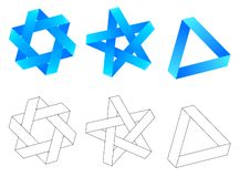 Impossible geometry. triangle star hexagon stock photography