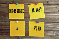Impossible is just a word Stock Photos