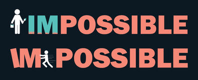 Impossible means I'm possible. Text, Font,Word Impossible means I'm possible,symbol, icon, graphic, vector. for business or work office Stock Photo