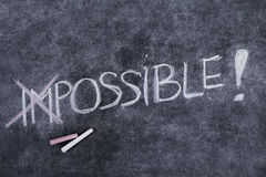 Impossible is nothing. Text of impossible is nothing written on a blackboard vector illustration