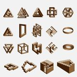 Impossible objects. Vector illustration.Isolated on white Stock Photo