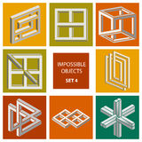 Impossible objects. Set 4 Royalty Free Stock Images