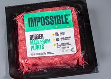 Free Impossible Plant Based Burger Package Of Three Patties Stock Photos - 160595113