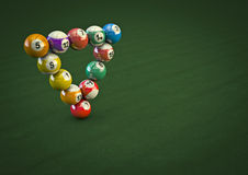 Impossible pool ball trick. 3D render of pool balls in a physically impossible formation Royalty Free Stock Images