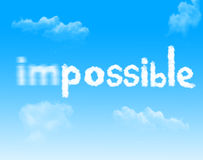 Impossible into Possible cloud icon with design on blue sky back Royalty Free Stock Photo