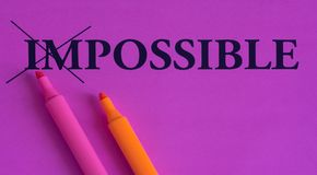 Impossible is possible, words on a bright background, concept, art, change, motivation, purple, pink, orange, marker, highlighter. Impossible is possible, words stock illustration