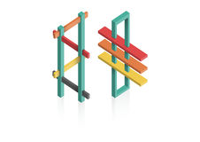 Impossible Shapes. 3D abstract, reflection royalty free illustration