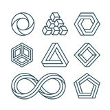 Impossible shapes thin line minimal vector icons set Stock Images