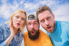 That is impossible. Shocking news. Amazed surprised face expression. How to impress people. Shocking impression. Men. With beard and women looking shocked. No royalty free stock photo