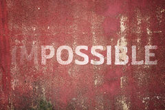 Impossible text on Metal plate steel background Stock Photos