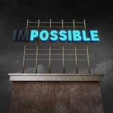 Impossible To Possible. Concept as an illuminated billboard text sign with two letters with lights off as a success metaphor for possibilities and positive Stock Photos