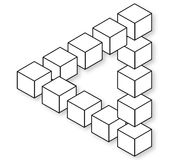 Impossible Triangle. Blocks, isolated and empty for creative image montage Stock Photography