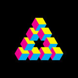 Impossible triangle in CMYK colors. Cubes arranged as geometric optical illusion. Reutersvard traingle. Vectori. Illustration Stock Images