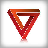 Impossible Triangle red. Impossible triangle, optical illusion in red tones royalty free illustration
