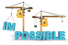The impossible turning into possible concept with crane. Impossible turning into possible concept with crane vector illustration