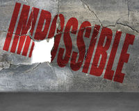Impossible word on cracked wall with hole Royalty Free Stock Images