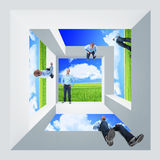 Impossible world. Same man in different position on 3d impossible shape vector illustration
