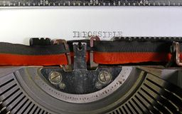 IMPOSSIBLE written with a mechanical typewriter Royalty Free Stock Photography