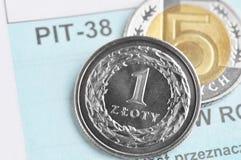 Imposta sul reddito polacca Fotografia Stock Libera da Diritti