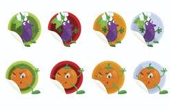 Impostare-de-vettore-autoadesivo-con-melanzana-e-arancione Fotografie Stock Libere da Diritti
