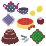 Imposti con gli oggetti per il partito di tè Fotografia Stock