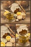 Imposti con le focaccine del tè verde, del miele e della noce Fotografia Stock