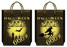 Imposti due sacchetti di acquisto di Halloween Fotografie Stock
