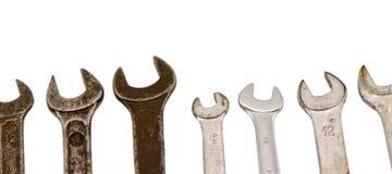 Imposti gli strumenti della vite della chiave di formato isolati su bianco Immagine Stock Libera da Diritti