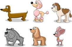 Imposti i cani del fumetto delle razze differenti, vettore Fotografie Stock Libere da Diritti