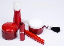 Imposti i contenitori per le attrezzature cosmetiche Fotografia Stock Libera da Diritti
