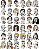 Imposti i ritratti unrecognizable isolati della gente su w Immagine Stock