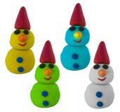 Imposti il pupazzo di neve con il cappello su bianco Fotografie Stock Libere da Diritti