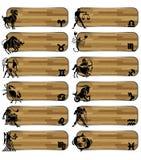 Imposti la bandiera di legno dello zodiaco Immagine Stock Libera da Diritti