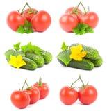 Imposti la frutta del cetriolo e del pomodoro Immagini Stock Libere da Diritti